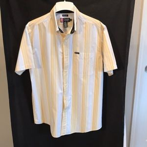 Chaps mens size L white with yellow stripes shirt